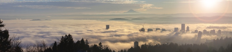 Rolling Fog Over City of Portland Oregon at Sunrise